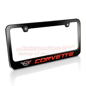 Chevrolet Red Corvette C5 Black Metal License Plate Frame, Licensed item + Gift