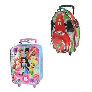 Disney-15-Rolling-Suitcase-Kids-Carry-On-Luggage-Wheels-Pixar-Cars-Fairies