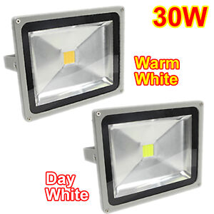 10W/30W/50W LED SMD Floodlights Day/Warm White Waterproof IP65 Outdoor Garden UK