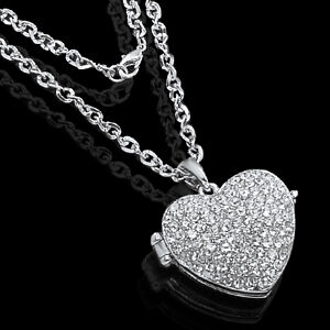 LOVE HEART PHOTO FRAME LOCKET CRYSTAL CHARM PENDANT SILVER TONE NECKLACE CHAIN