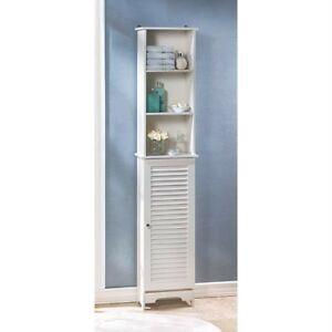 about shabby cottage chic white bathroom tall storage cabinet louvered