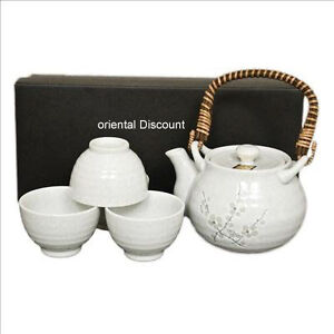 5 PCS. Japanese Tea Pot & Cups Set Cherry Blossom White Plum Tree, Made in Japan