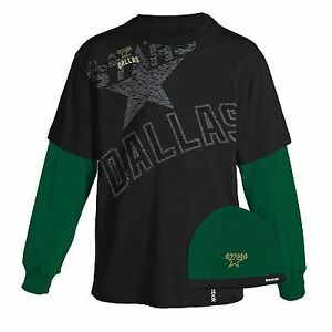 NEW-Mens-NHL-Dallas-Stars-Hockey-REEBOK-Layered-T-Shirt-Knit-Beanie-Hat-M-L-XL