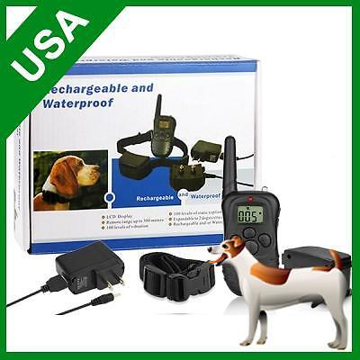 100 level Rechargeable Waterproof Shock Vibrate Remote Dog Pet Training Collar on Rummage
