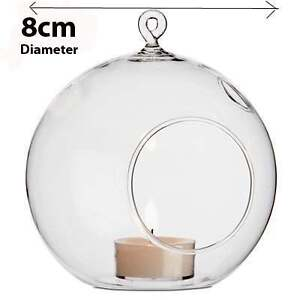 20-Clear-Glass-Hanging-Ball-Globe-Shere-tealight-holder-Decoration-wedding-8cm