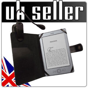 Black Leather Case Cover Wallet with Light for Amazon Kindle 4 4th Generation UK