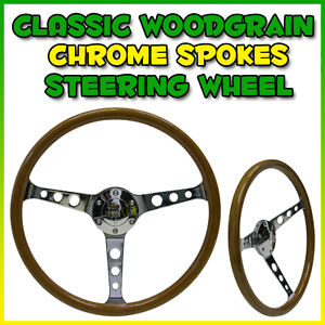 SAAS-CLASSIC-CHROME-WOODGRAIN-WOOD-STEERING-WHEEL-MONARO-TORANA-GT-MG-VALIANT