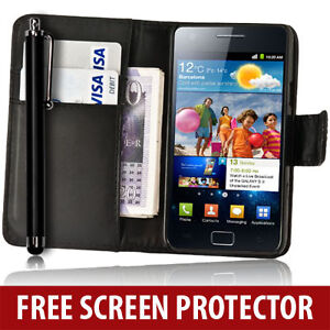 BLACK-WALLET-LEATHER-CASE-STYLUS-SCREEN-PROTECTOR-FOR-SAMSUNG-GALAXY-S2-i9100