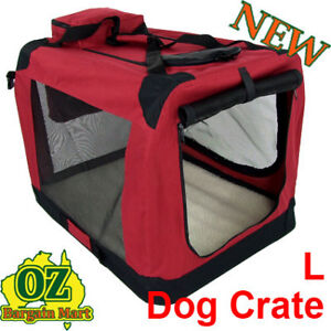 LARGE DELUXE PORTABLE SOFT DOG PET CRATE TRAVEL COLLAPSIBLE HOUSE CAGE KENNEL L