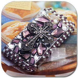 Gothic Cross Bling Crystal Hard Skin Case Back Cover For Verizon HTC Rhyme 6330