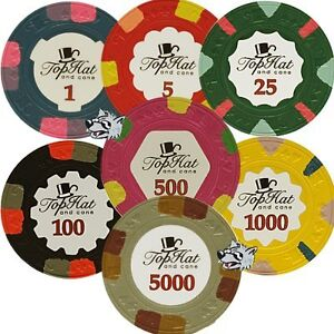 PAULSON World Tophat & Cane Poker Chips SAMPLE PACK