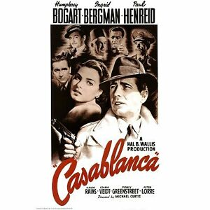 CASABLANCA - MOVIE POSTER - 24x36 SHRINK WRAPPED - BOGART BERGMAN 6034