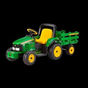 Kids John Deere Farm Power Tractor 12 Volt with Trailer New Peg Perego