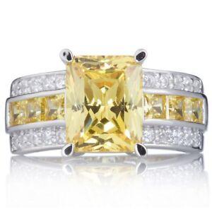 Man's Yellow Topaz 10KT White Gold Filled Ring