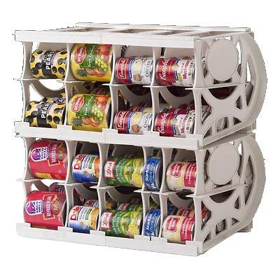 food rotation system canned soup can storage rack organizer space saver 2 pack. Black Bedroom Furniture Sets. Home Design Ideas