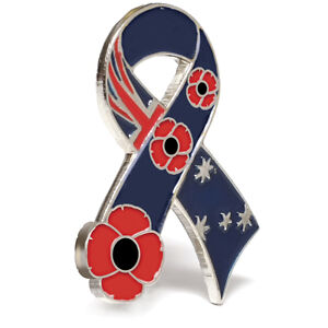 REMEMBER OUR TROOPS POPPY LAPEL PIN RIBBON - REMEMBERANCE DAY NOV 11th