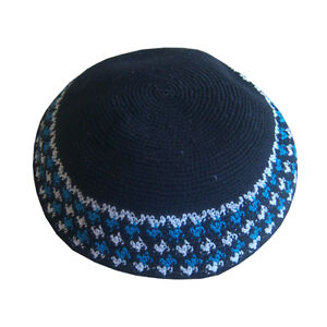 Beautiful Knitted Kippah, Yarmulke, Made In ISRAEL, Black, Blue & White, 6