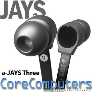 Jays a-Jays Three Earphones High Quality Audio Designer Black Flat Cable T00074