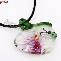 handmade ladybug apple lampwork Murano glass beaded pendant