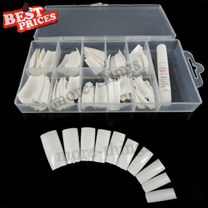 100 White False Nail Tip With Box UV Gel/Acrylic + Glue