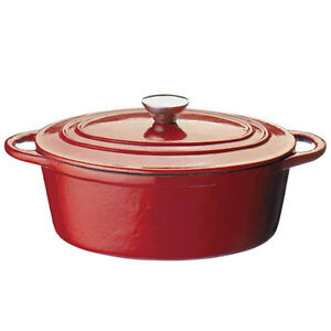 RED CAST IRON COOKWARE INDUCTION KITCHENWARE OVEN TO TABLEWARE CASSEROLE DISH