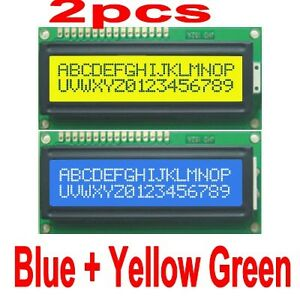 2pcs-Blue-Yellow-Backlight-1602-16x2-HD44780-Character-LCD-Display-Module-LCM