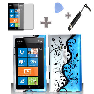 Nokia Lumia 900 AT&T-Rubberized Blue Vine Skull Hard Case Cover+Screen