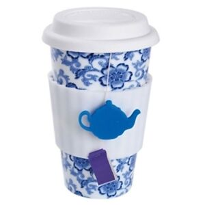 DCI Eco Coffee Tea Cup Lovers Blue Floral NEW