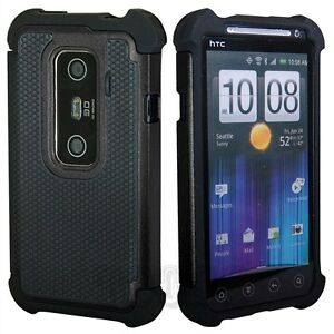 Pen+Heavy Duty Rugged Hybrid Hard Case Cover For HTC EVO 3D Sprint+Screen Guard