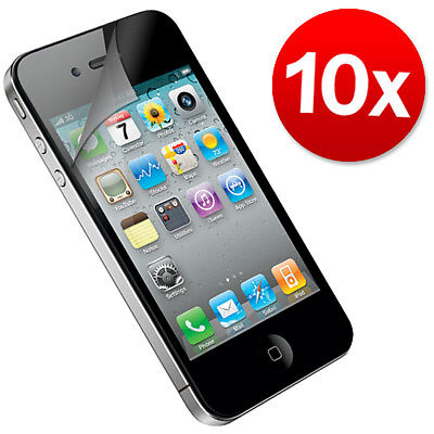 10 x Pack Apple iPhone Screen Protector 4 4S Clear LCD Cover Clear