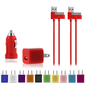 New-Power-Bundle-Wall-Cube-Car-Charger-2-USB-Cables-for-Apple-iPod-iPhone