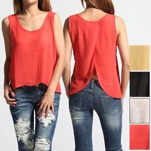 MOGAN-Tulip-Open-Back-SWING-TANK-TOP-Sleeveless-Sheer-Chiffon-Blouse-Shirts-NEW