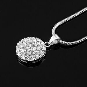 Solid 925 Sterling Silver Circle Pendant Featuring 40 Swarovski Crystals