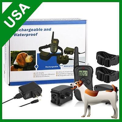 Rechargeable Waterproof LCD Shock Vibrate Remote 2 Dogs dog Pet Training Collar on Rummage