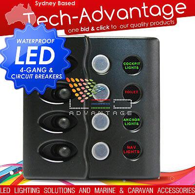 12V MARINE/BOAT 4 GANG WATERPROOF LED LIT SWITCH PANEL & 15 AMP CIRCUIT BREAKERS