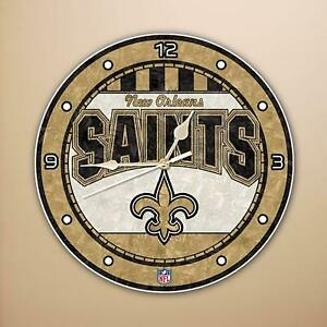 New Orleans Saints Deluxe Art Glass Wall Clock (New)