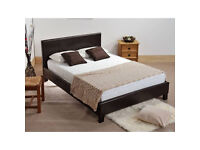 Double, Leather Bed Frame, with quilted, Thick, Mattress.