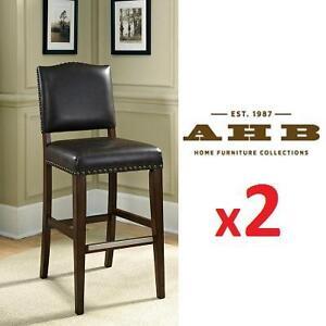 "2 NEW AH 26"" CUSHIONED BAR STOOLS - 120751831 - AMERICAN HERITAGE WORTHINGTON SUEDE BROWN/BLACK"
