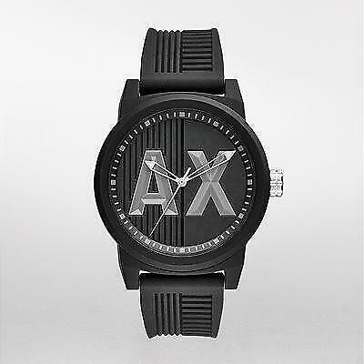 Armani Exchange AX1451 Street 46MM Men's AX Logo Black Silicone Watch