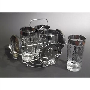 Mad Men Mid-Century Glass Set with Coasters and Caddy