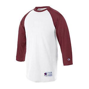 6aa108170382 Champion Raglan Baseball Short Sleeve Mens T Shirt T137 White/maroon ...