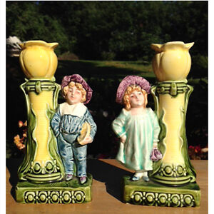 Pair of Antique Majolica Candle Holders
