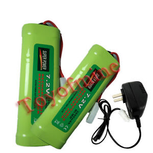 7.2V 3800mAh NiMH Rechargable Battery x2+charger tamiya