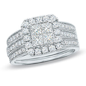 beautiful wedding set/ engagement ring white gold 1.50 CT.