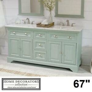 "NEW* HDC SADIE 67"" DOUBLE VANITY - 127434958 - HOME DECORATORS COLLECTION ANTIQUE GREEN CABINET MARBLE TOP BATHROOM C..."