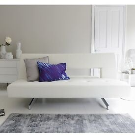 Dwell Pisa White Leather Sofa Bed