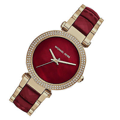 47f7af640acc New Michael Kors MK6427 39mm Parker Red Choronograph and Gold Women s Watch