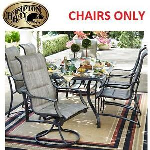 6 NEW HAMPTON BAY PATIO CHAIRS - 125315349 - STATESVILLE PADDED SLING DINING