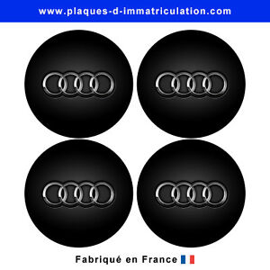 sticker audi noir pour cache moyeu de jante lot de 4 ebay. Black Bedroom Furniture Sets. Home Design Ideas