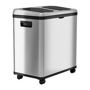 New iTouchless 16 Gallon Dual-Compartment Sensor Touchless Recycle Bin/Trash Can PICKUP ONLY - PU6